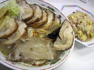 肉屋@水道橋:チャーシュー麺肉増しダブル+焼きめし定食